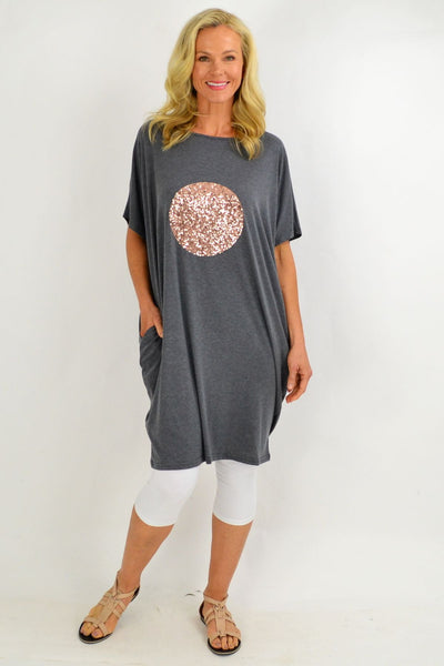 Grey Sparkly Spot Cocoon Tunic Dress