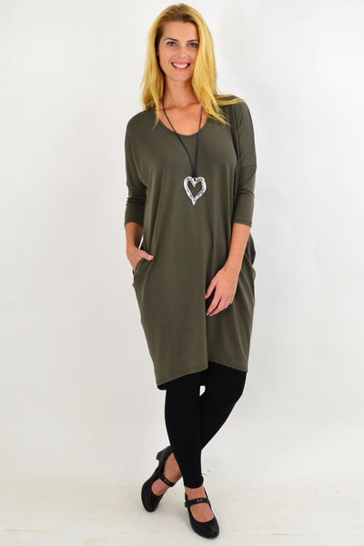 Khaki Hi Low Tunic Dress | I Love Tunics | Tunic Tops | Tunic | Tunic Dresses  | womens clothing online