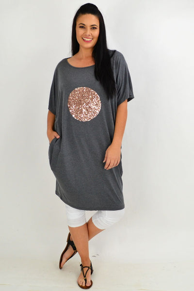 Grey Sparkly Spot Cocoon Tunic Dress | I Love Tunics | Tunic Tops | Tunic | Tunic Dresses  | womens clothing online
