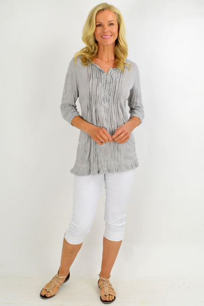 Grey Pleat Crinkle Tunic Top