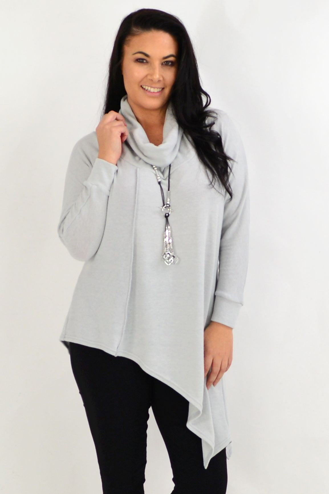 Light Grey Asymmetrical Rolled Neck Jumper | I Love Tunics | Tunic Tops | Tunic | Tunic Dresses  | womens clothing online