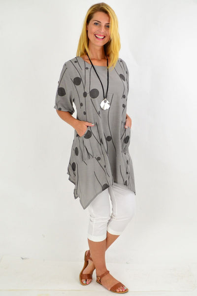 Charcoal Deb Dots Tunic Top