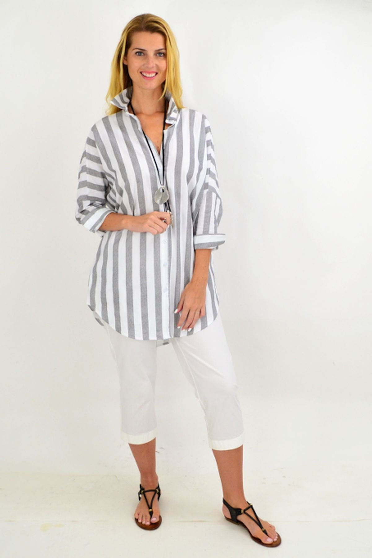 Grey & White Striped Cotton Shirt | I Love Tunics | Tunic Tops | Tunic | Tunic Dresses  | womens clothing online