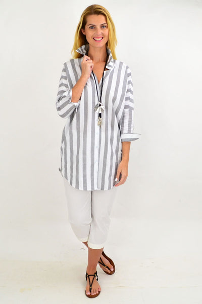 Grey & White Striped Cotton Shirt