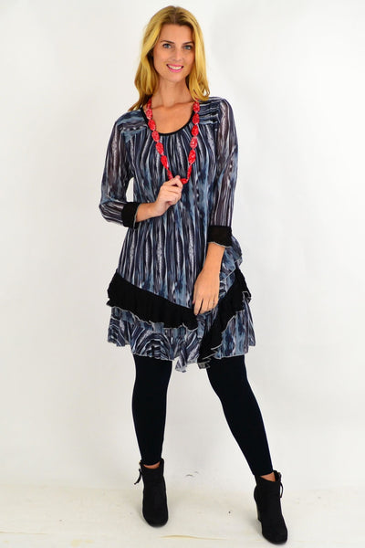 Grey Ruffle Rim Tunic Top