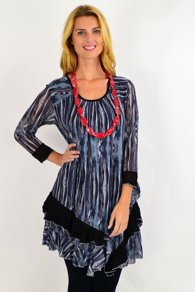 Grey Ruffle Rim Tunic Top | I Love Tunics | Tunic Tops | Tunic | Tunic Dresses  | womens clothing online