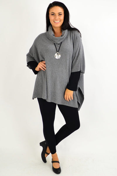 Grey Oversized Knit Tunic Jumper