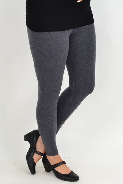 Long Winter Weight Grey Cotton Leggings