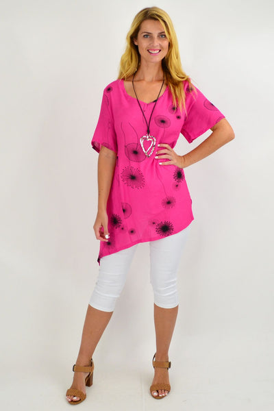 Pink Dandelion Wish Tunic Top