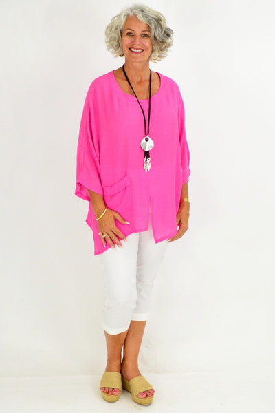 Hot Pink Marleen Tunic Blouse