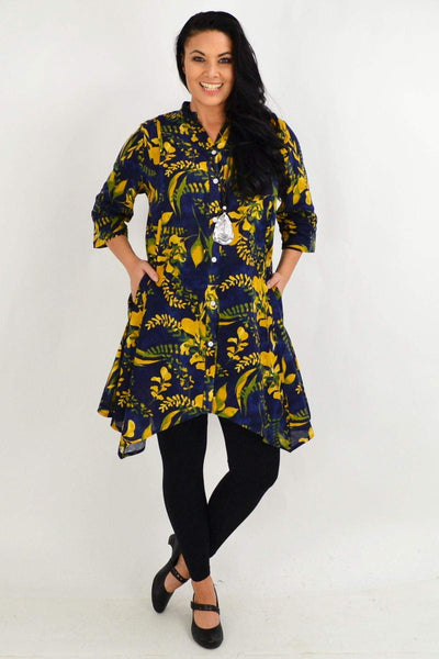 Mustard Flower Navy Stand Collar Long Shirt