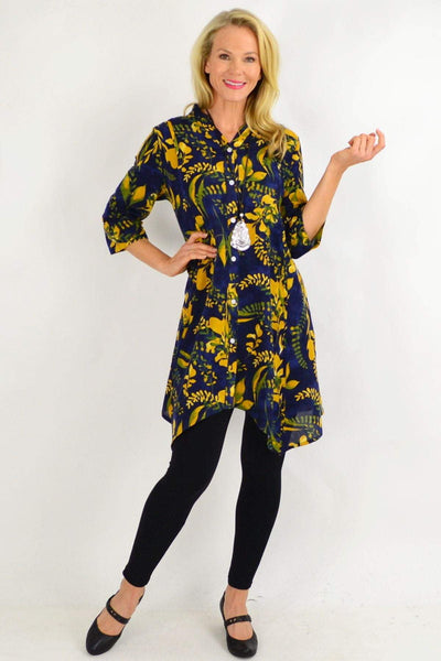 Mustard Flower Stand Collar Long Shirt | I Love Tunics | Tunic Tops | Tunic | Tunic Dresses  | womens clothing online