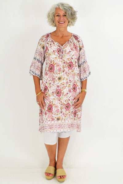 White Pink Crinkle Tie Tunic Dress