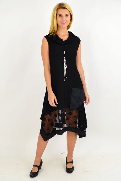 Elegant Black Lace Cowl Neck Tunic Dress