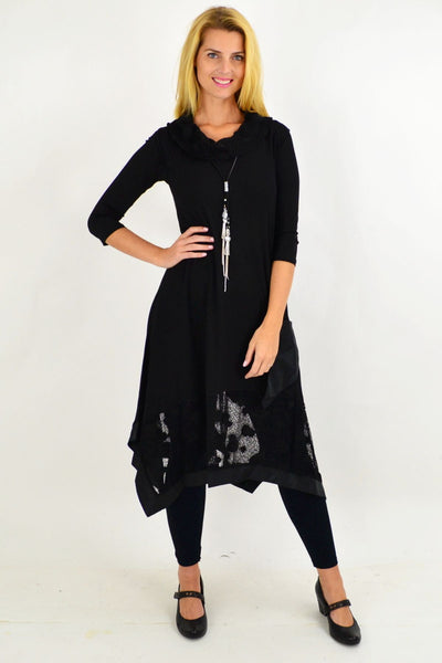 Elegant Black Lace Cowl Neck Tunic Dress | I Love Tunics | Tunic Tops | Tunic | Tunic Dresses  | womens clothing online