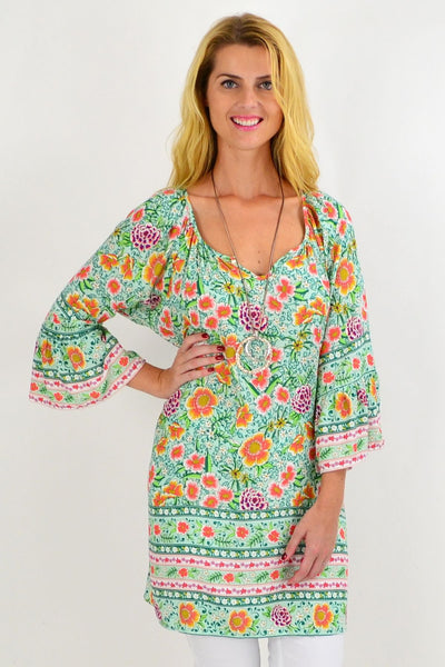 Orange Flower Light & Pretty Tunic Top
