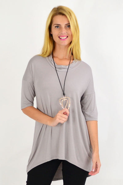 Taupe Bamboo Hi Low Tunic Top