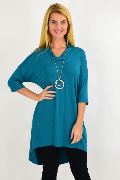 Teal Bamboo Hi Low Tunic Top