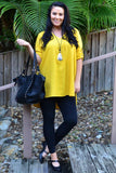 Mustard V Neck Linen Blouse | I Love Tunics | Tunic Tops | Tunic | Tunic Dresses  | womens clothing online