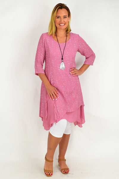Pink Speckle Overlay Tunic Dress