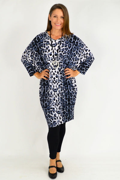 Blue Leopard Print Relaxed Long Tunic