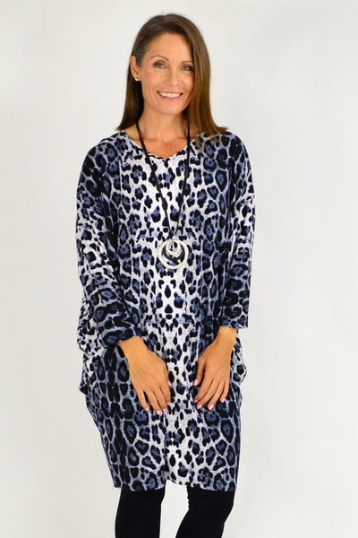 Blue Leopard Print Relaxed Long Tunic | I Love Tunics | Tunic Tops | Tunic Dresses | Women's Tops | Plus Size Australia | Mature Fashion