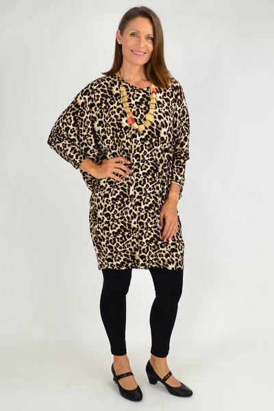 Leopard Print Relaxed Long Tunic Top