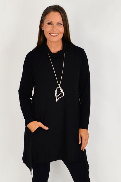 Black Long Skivvy Jersey Tunic | I Love Tunics | Tunic Tops | Tunic | Tunic Dresses  | womens clothing online