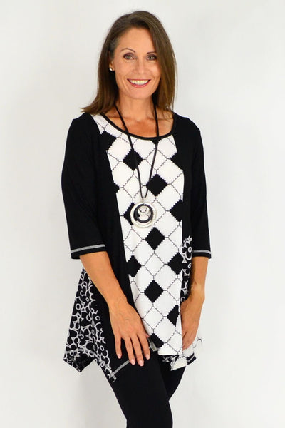 Sharon Black White Floral Tunic Top | I Love Tunics | Tunic Tops | Tunic | Tunic Dresses  | womens clothing online
