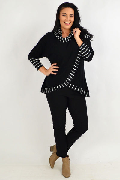 Black White Dot Rolled Neck Tunic Top