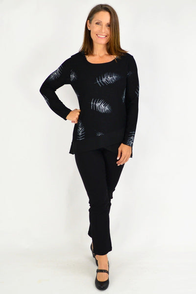 Winter Fern Short Tunic Black Blouse