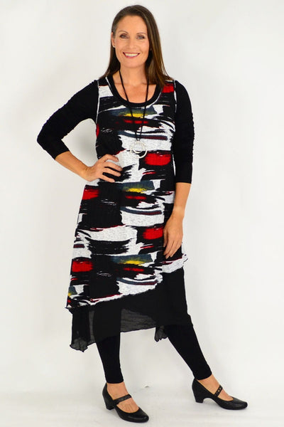 Annie Abstract Sleeveless Tunic Dress