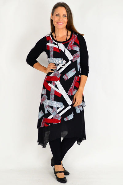 Red Alisha 2 piece Tunic Dress