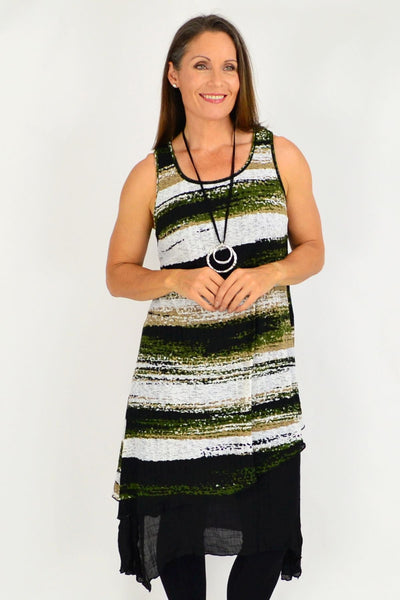 Green Lucy Line Sleeveless Tunic Dress | I Love Tunics | Tunic Tops | Tunic | Tunic Dresses  | womens clothing online