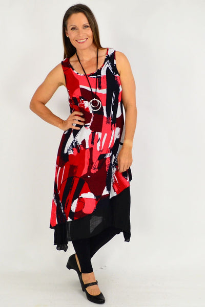 Red Ashlee Sleeveless Tunic Dress