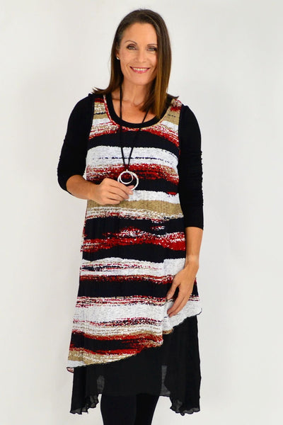 Red Lucy Line Sleeveless Tunic Dress