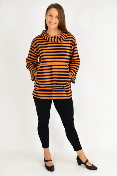 Mustard Nora Stripe Turtle Neck Tunic Jumper