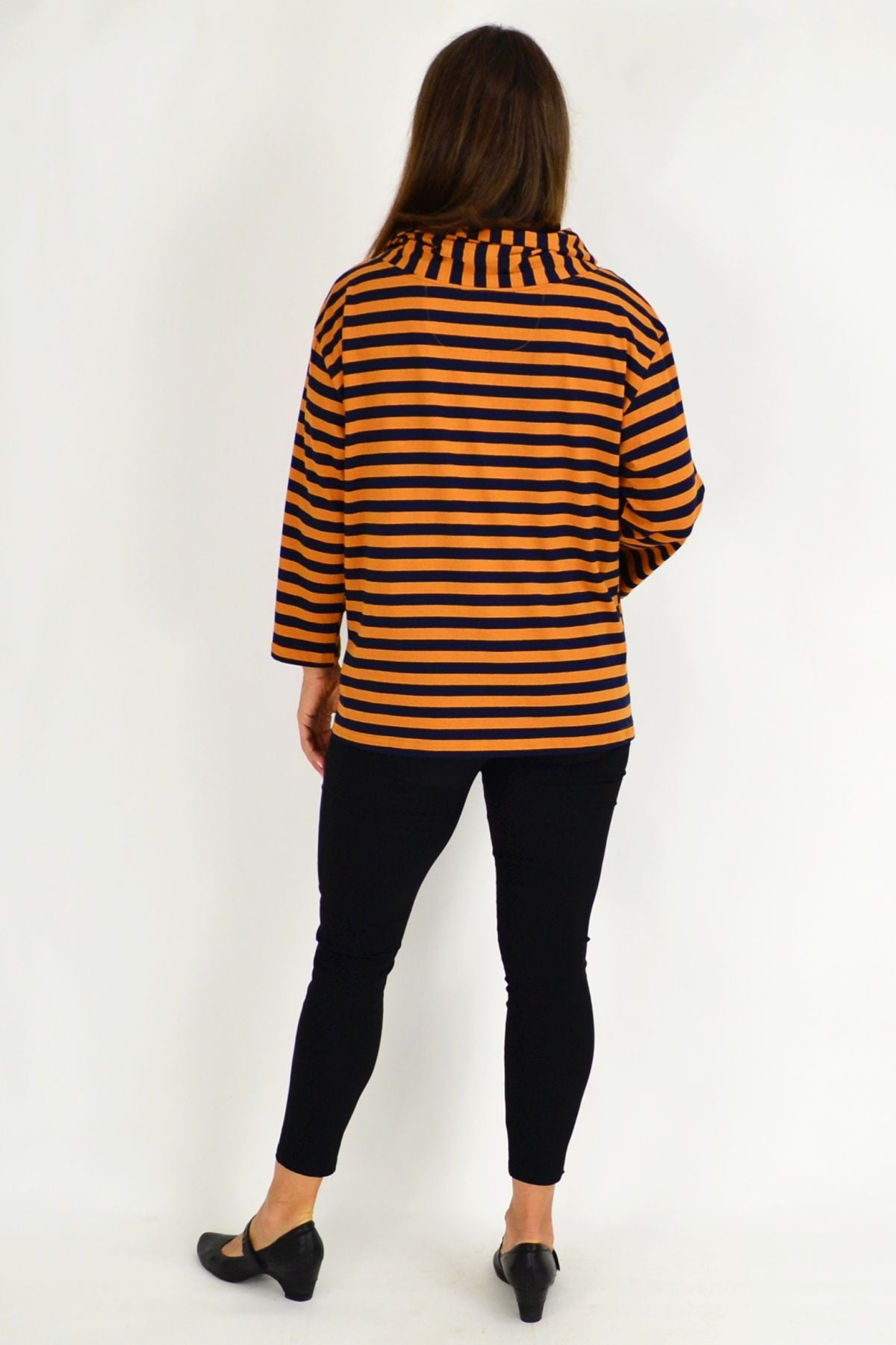 Mustard Nora Stripe Turtle Neck Tunic Jumper | I Love Tunics | Tunic Tops | Tunic | Tunic Dresses  | womens clothing online