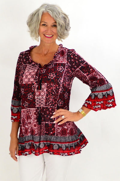 Oriental Charm Cotton Tunic Top