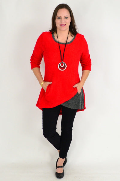Red Woven Long Sleeve Winter Tunic Top