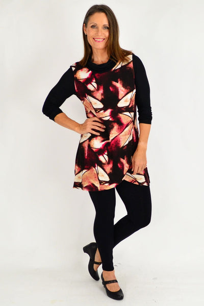 Red Jasmine Abstract Tunic Top
