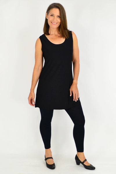 Long Black Sleeveless Basic Tunic Top