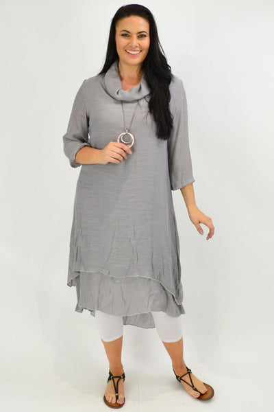 Grey Cowl Neck Tunic Dress | I Love Tunics | Tunic Tops | Tunic | Tunic Dresses  | womens clothing online