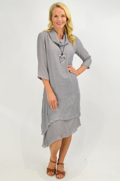 Grey Cowl Neck Tunic Dress