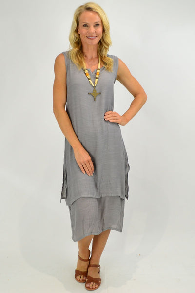 Grey V Sleeveless Layered Tunic Dress | I Love Tunics | Tunic Tops | Tunic | Tunic Dresses  | womens clothing online
