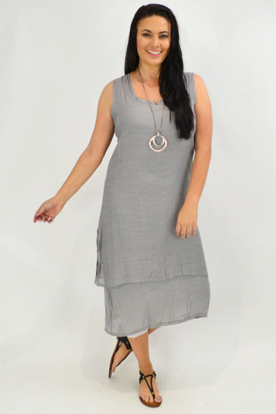 Grey V Sleeveless Layered Tunic Dress