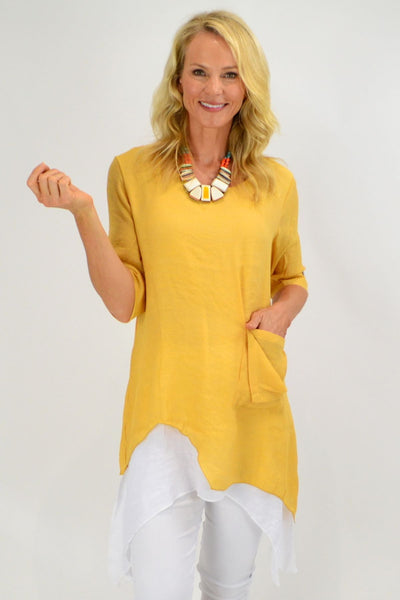Pat's Mustard Overlay Tunic Top | I Love Tunics | Tunic Tops | Tunic | Tunic Dresses  | womens clothing online