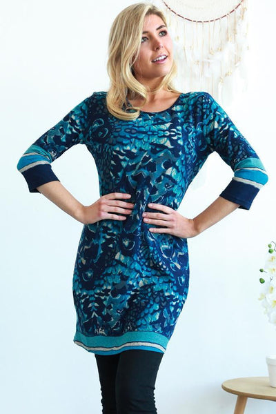 Blue Donna Long Sleeve Winter Tunic Dress