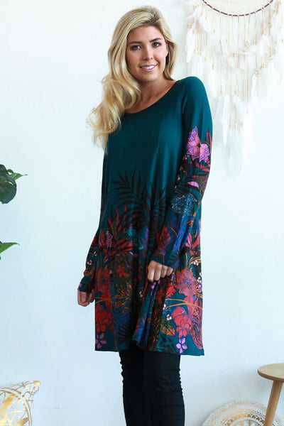 Teal Floral Long Sleeve Winter Tunic Dress | I Love Tunics | Tunic Tops | Tunic Dresses | Women's Tops | Plus Size Australia | Mature Fashion