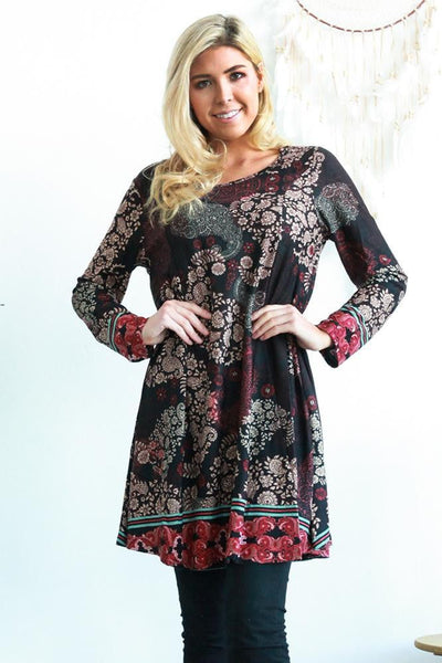 Black Sophie Long Sleeve Winter Tunic Dress | I Love Tunics | Tunic Tops | Tunic Dresses | Women's Tops | Plus Size Australia | Mature Fashion